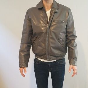 Vintage grey mens leather bomber jacket size 40